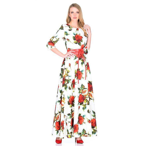 Women's Russian Style Rose printing dress