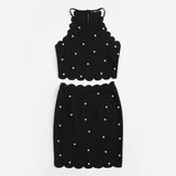 Summer Ladies Black Sleeveless Pearl Beading Scalloped Halter Top and Skirt Set