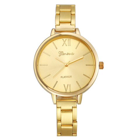 Women Stainless Steel Band Rose Gold Wrist Watch