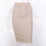 New Arrival - Elegant Split Vintage Suede Bodycon Skirt - High Waist Knee Length