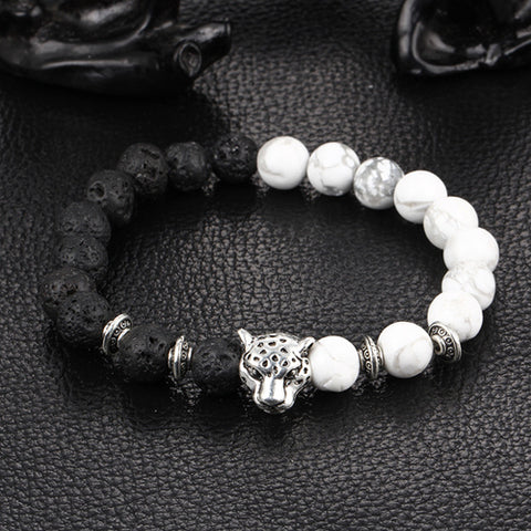 06954f4927a0b Buddha Leopard head Bracelet Lava Natural Stone Beaded Bracelets For Men  Women