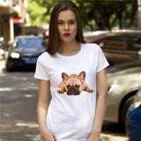 Cute Lazy French Bulldog Printed Women T-Shirt
