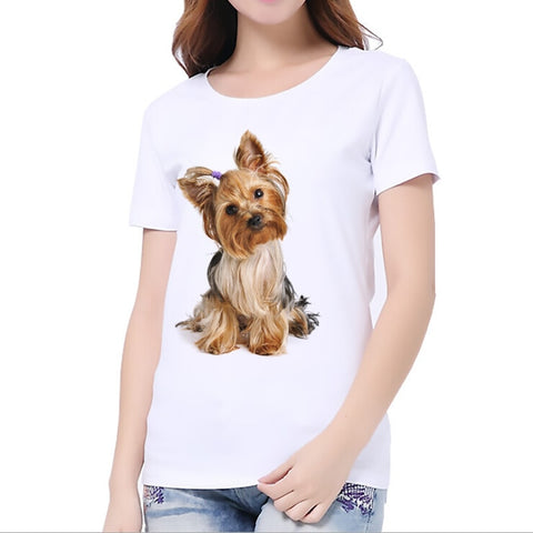 Yorkie, Husky Dog Printed Women T-Shirt