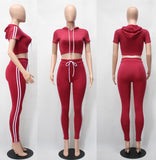 Summer Fashion Hooded Crop Top and Long Pants 2 Piece Suits Set
