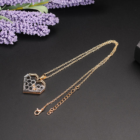 Heart Honeycomb Bee Pendant Necklace