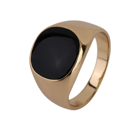 Never Fade Stainless Steel Metal Ring Gold-color Black Onyx Stone