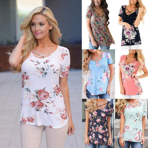 Summer Women Short Sleeve V-Neck Printed Shirt