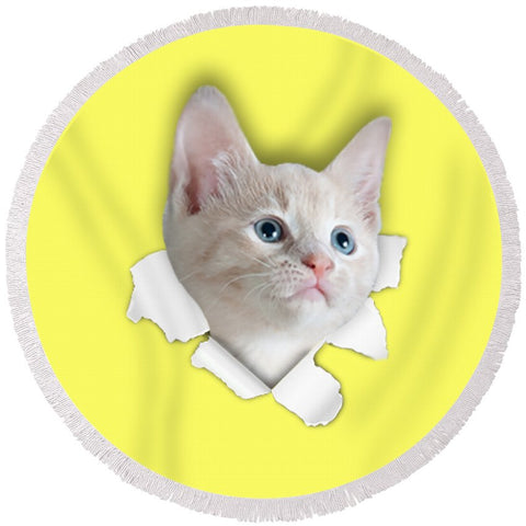 Beautiful Cat 3D Print Round Beach Towel