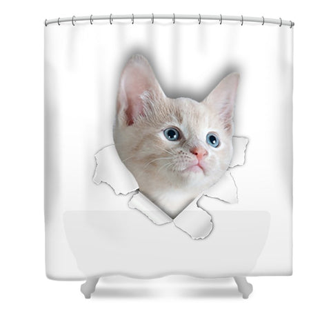 Beautiful Cat 3D Print Shower Curtain