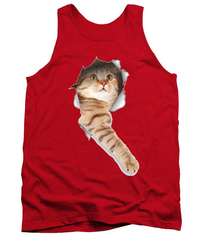 Beige Cat Paw Sticking Out 3D Print Tank Top