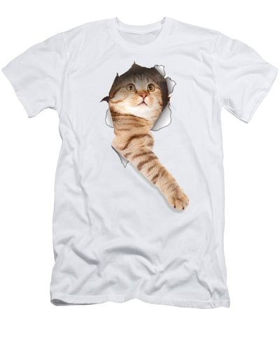 Beige Cat Paw Sticking Out 3D Print Men's T-Shirt (Athletic Fit)