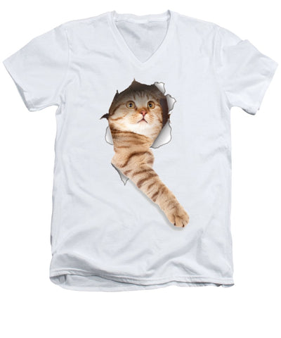 Beige Cat Paw Sticking Out 3D Print Men's V-Neck T-Shirt