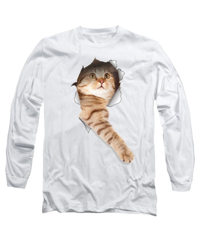 Beige Cat Paw Sticking Out 3D Print Long Sleeve T-Shirt