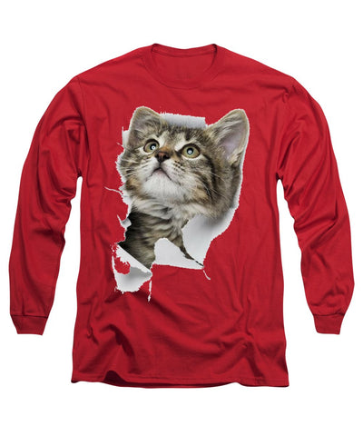 Cat Looking Up 3D Long Sleeve T-Shirt