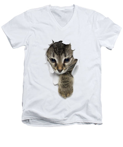 Cat Paw Sticking Out 3D Print Men's V-Neck T-Shirt