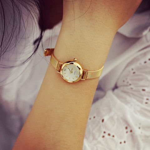 Gold Color Stainless Steel Fashion Watch for Women