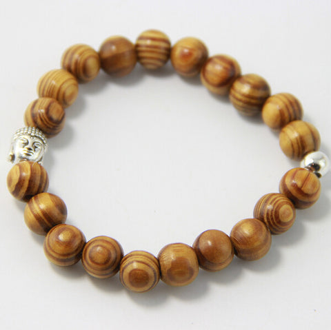 High Quality Natural Wooden Buddha Head Bead Bracelet (60% OFF)