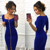 New Fashion Women's Zipper Up Split Bodycon Dress