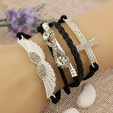 FREE Elegant Friendship Crystal Cross Infinity Wings Leather Charm Bracelet Bangle For Women!!! JUST PAY SHIPPING!