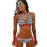 Sexy Bikinis Women Swimsuit Swimwear Halter Top Plaid Brazillian Bikini Set