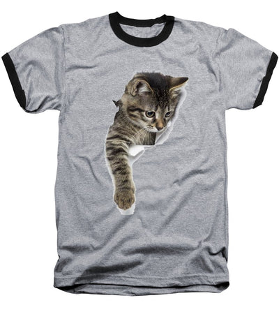 Naughty Cat Right Paw Sticking Out 3D Print Baseball T-Shirt