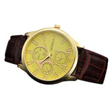Geneva Men's Retro Design Watch - Leather Band - Three Eyes Analog - Alloy Quartz Wrist Watch
