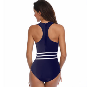 One Piece Swimwear with Mesh Patchwork - Fast-Selections