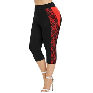 Plus Size Lace Capri Leggings - Fast-Selections