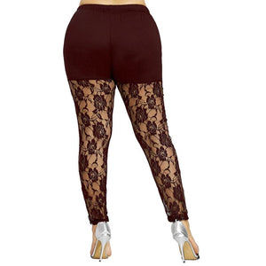 Plus Size Sheer Lace Panel Leggings - Fast-Selections
