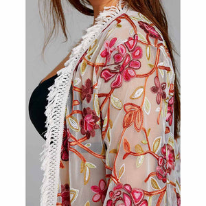 Floral Embroidery Cover up Plus Size