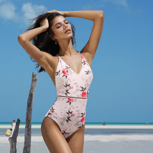 Pink Floral Print One-piece Swimsuit XL-XXL Available