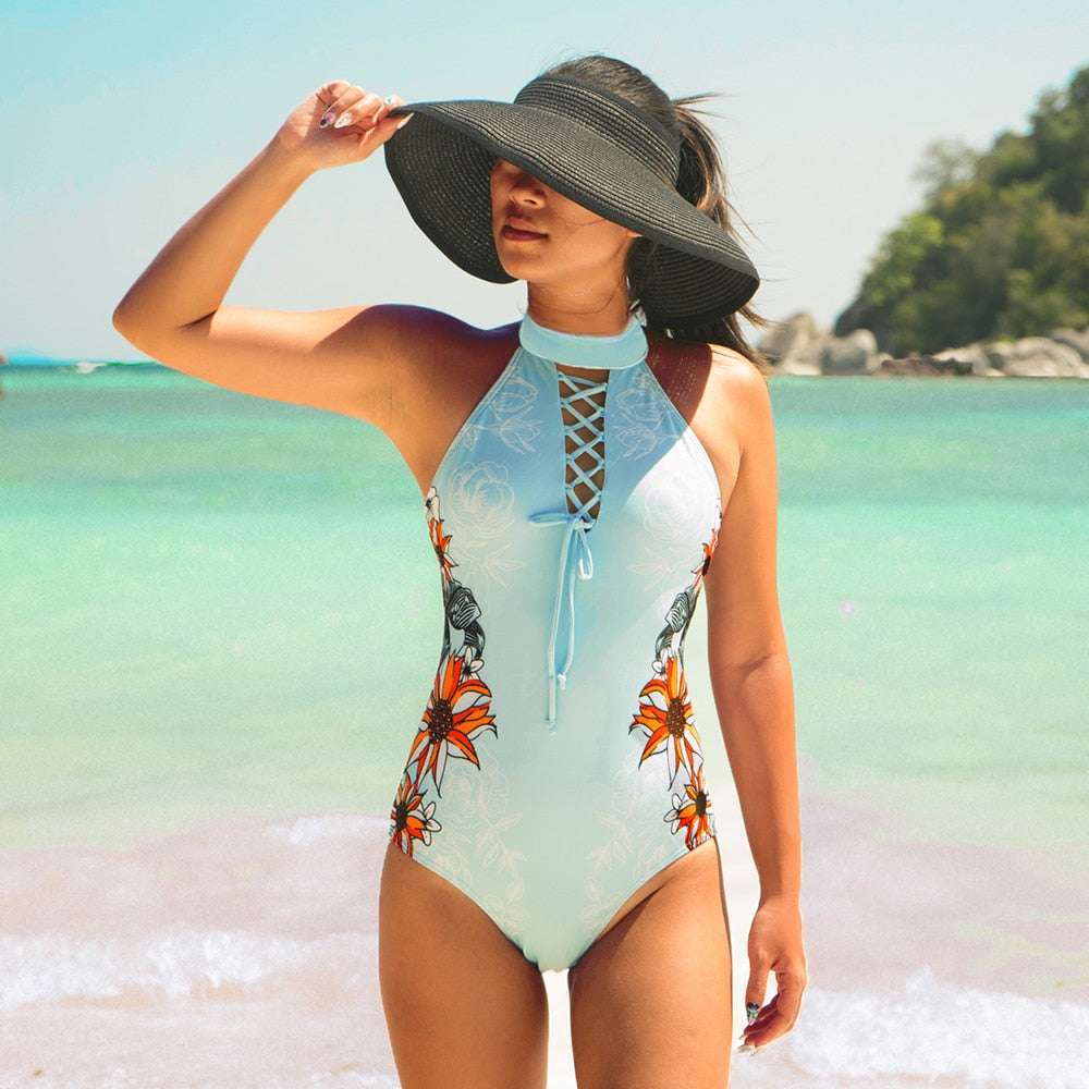 Bandage Flower One Piece Swimsuit - Fast-Selections