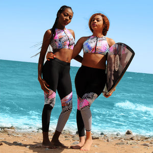 Patchwork Rash Guard Swimwear Set