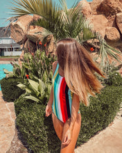 Load image into Gallery viewer, Retro Style Stripe One Piece Swimsuit