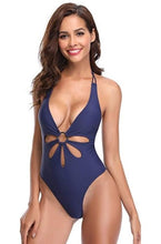 Load image into Gallery viewer, One Piece Backless V Neck  Halter Swimsuits