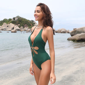One Piece Backless V Neck  Halter Swimsuits