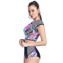 Load image into Gallery viewer, Patchwork Rash Guard Swimwear Set