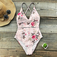 Load image into Gallery viewer, Pink Floral Print One-piece Swimsuit XL-XXL Available