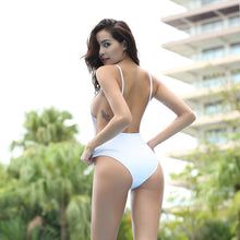 Load image into Gallery viewer, One Piece High Cut Backless Mesh Swimsuit