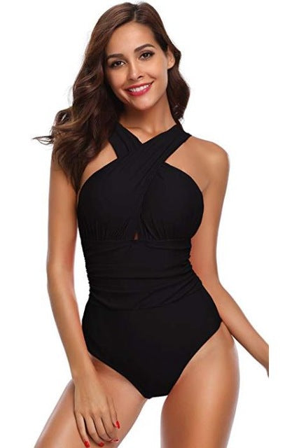 Criss Cross Ruched Swimsuit - Fast-Selections