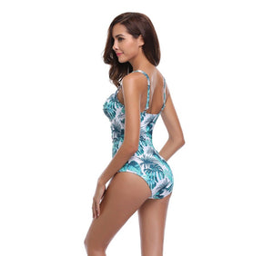 Shirred Backless One Piece Swimwear - Fast-Selections