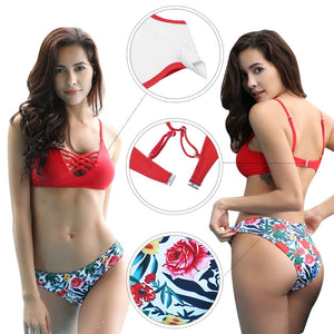 Spaghetti Strap Halter Two Piece Swimsuit