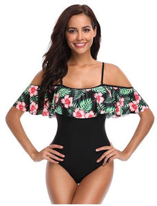 One Piece Off Shoulder Flounce Ruffled Swimsuits