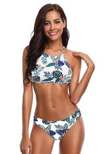 Load image into Gallery viewer, High Neck Stripe  Bikini Set