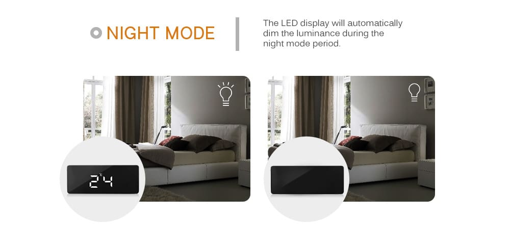 TS - S69 Multifunctional Noiseless LED Mirror Clock Display Time / Temperature