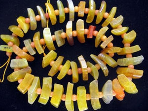 Yellow Agate Greaduated Stacked Diamond Slab Beads