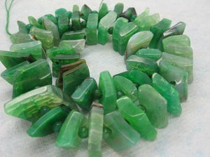 Green Agate Graduated Stacked Diamond Slab Beads