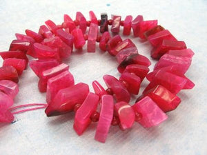 Hot Pink Agate Graduated Stacked Diamond Slab Beads