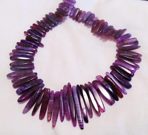 Purple Agate Stick Beads