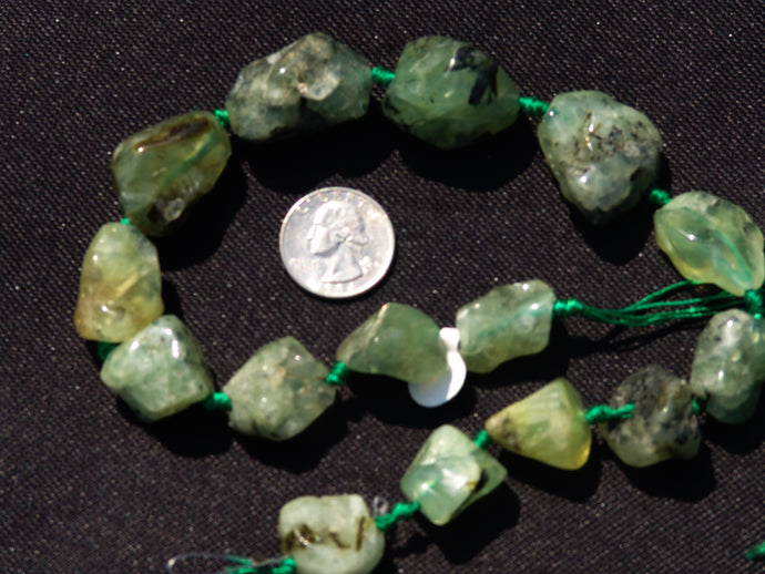 Natural Green Quartz Chunk Beads are Polished and Graduated
